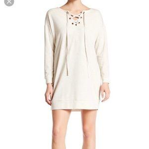 Bobeau Lace Up Dress / Tunic Long Sleeve